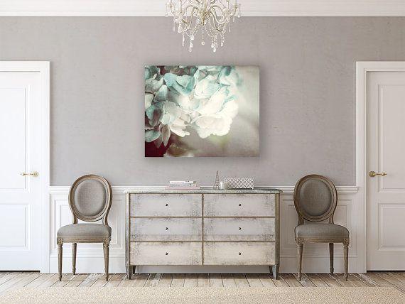 Canvas Art: Flower Gallery Wrap Canvas Soft Teal Canvas Art