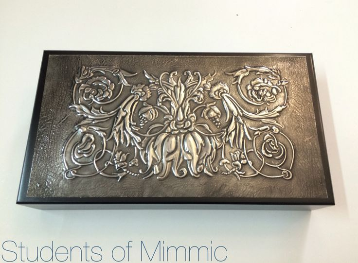 A beautiful bridge box pewtered by Esther from our Thursday class #pewter #pewtercraft #design #decor #creative