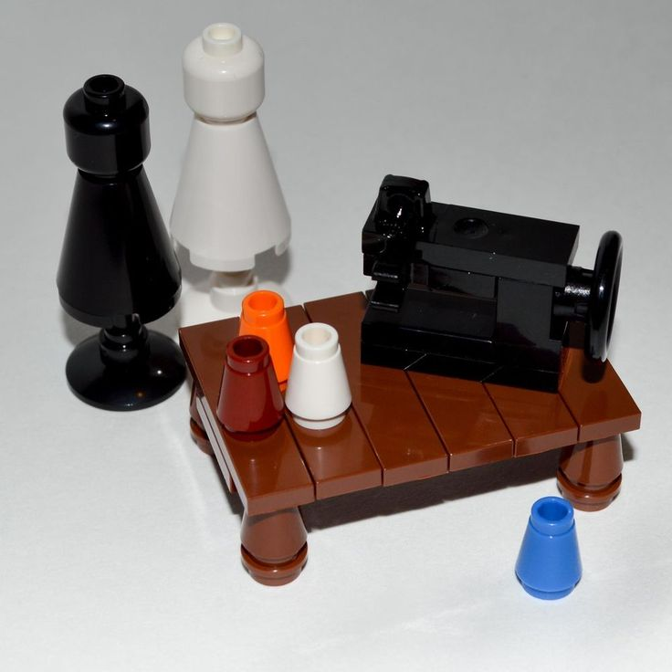 LEGO Furniture: Sewing Room Collection - with Black Machine, Table, Dress Forms #InteriorBricks