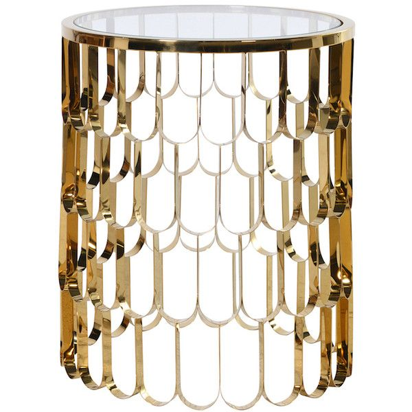 Koi Gold Side Table found on Polyvore