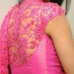 Pink Lace Blouse Back Design from Bhargavi Kunam