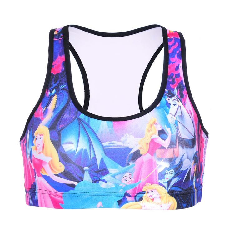 NEW Black Milk 0088 Summer Sexy Girl Women comics Snow White 3D Prints Padded Push Up Gym Vest Top Chest Running Sport Bras