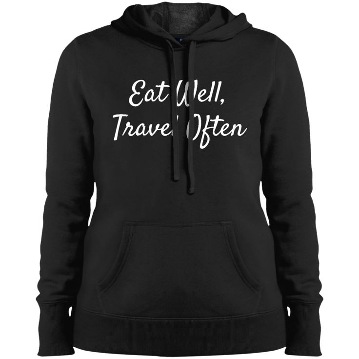 Eat Well Travel Often Hoodie from Munkberry. These shirts are great for everyday, travel, hiking, running, yoga, and active wear for women. Great gift idea for women, ladies, girls.