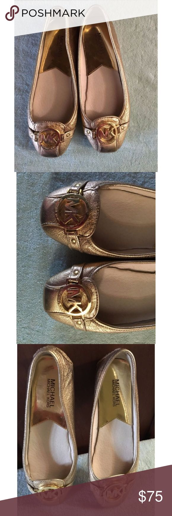 Authentic Michael Kors Gold Ballet Flats 7 1/2✨ Beautiful pair of very soft gold leather ballet flats by Michael Kors with metal MK logo on front of flats. Very clean condition and no visible signs of wear or defects. Non-smoking home. Inside of shoe is perfect. No wear on soles. Size 7.5! ✨ Michael Kors Shoes Flats & Loafers