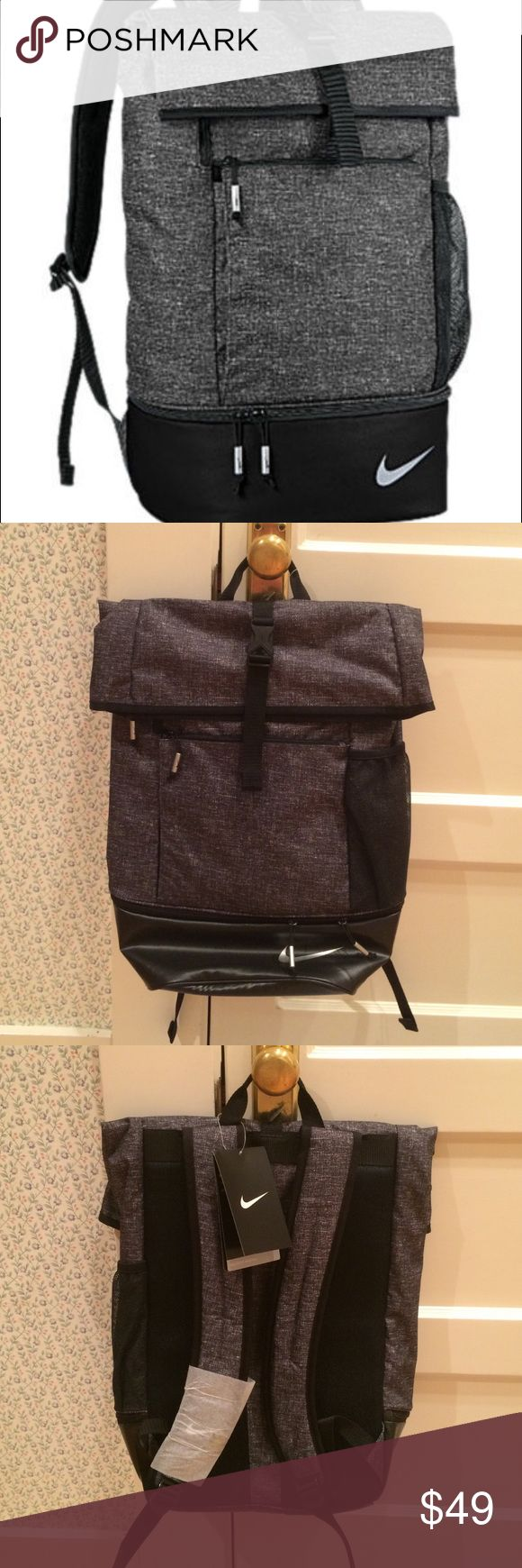 Nike Sport Fold-Top Backpack NWT Nike sport backpack- large capacity, fold-top with buckle closure and water resistant. Separate bottom compartment for shoes or anything you'd like to be easily accessible. Multiple accessory pockets and water bottle holder. Dark charcoal with black straps. Brand new w/ tags! Great for everyday or sports supplies- big enough to be a gym or weekender bag. Nike Bags Backpacks