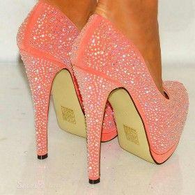 Sparkle Pink Rhinestone Sky-high Platform Stiletto Heels from ILoveCuteShoes.com