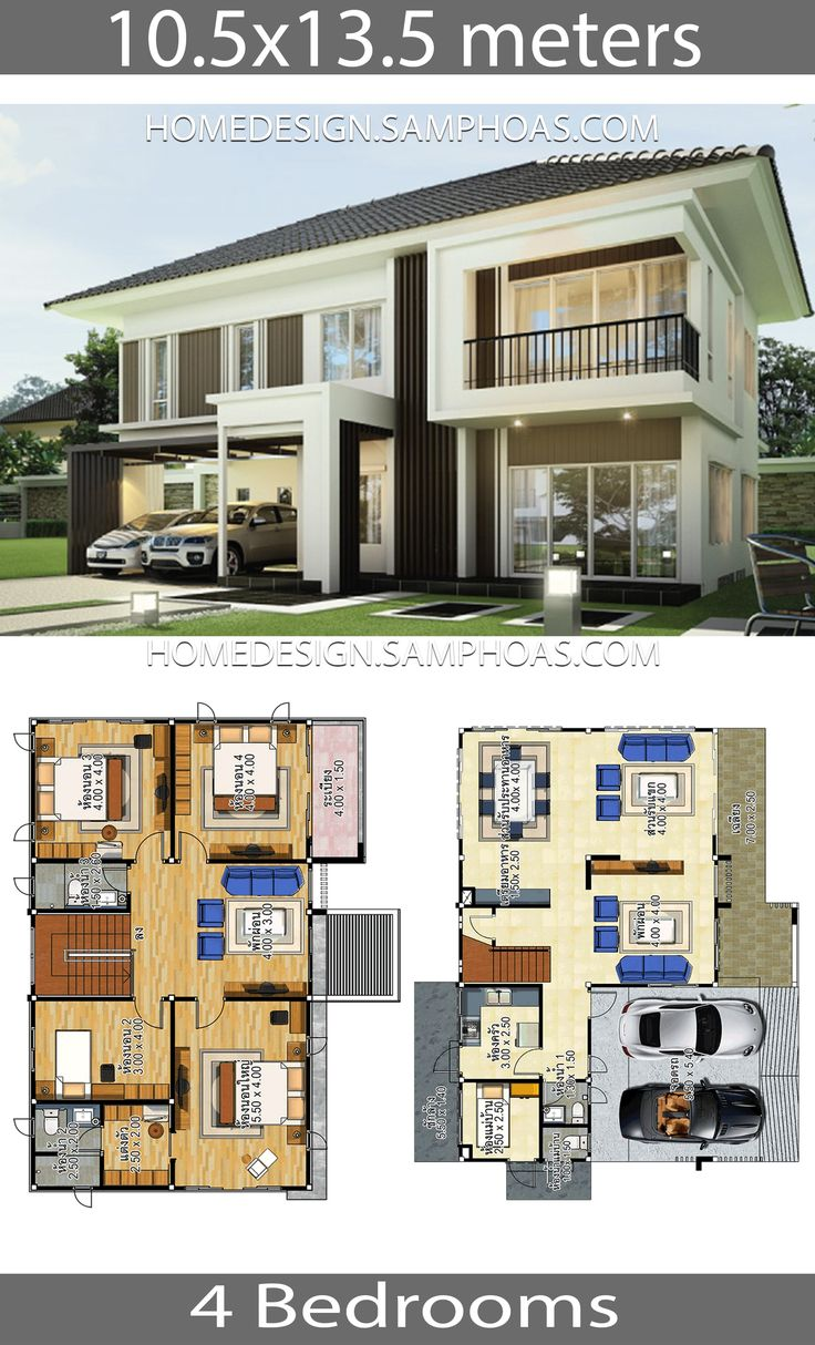 House plans idea 10.5x13.5 with 4 bedrooms Modern house