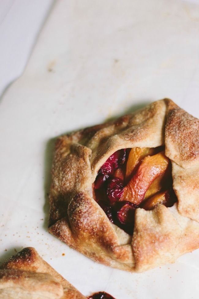 peach and cherry galette