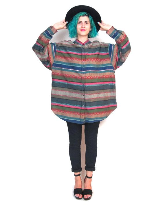 90s Grunge Striped Oversize Shirt Southwest Mens Plus Size Vintage Cotton Long Sleeve Button ...