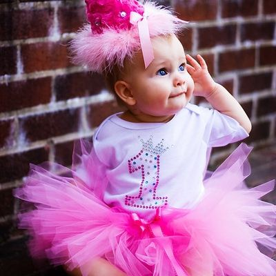 1st Birthday Bling Couture Onesie Gift Set with Tutu for Baby Girl