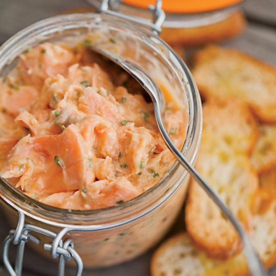 Salmon Rillettes -This rich, easy-to-make spread gets deep flavor from both fresh and hot-smoked salmon.