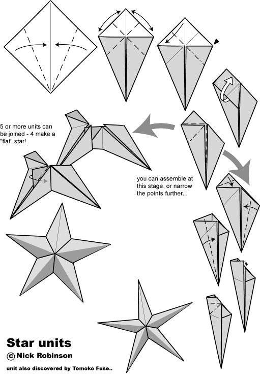 Fundamentals for making a star. This tutorial describes the making of one unit. Repeat this 4 times and you'll 5 units to construct the star.