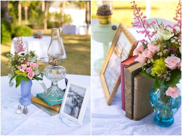 Vintage book and oil lamp centerpieces at  Villa Ospo Wedding on Jekyll Island designed/planned by Cocktails & Details (www.cocktailsdetails.com) :: Photo by @Brooke Roberts Brooke Roberts Photography (www.brookerobertsphotography.com)