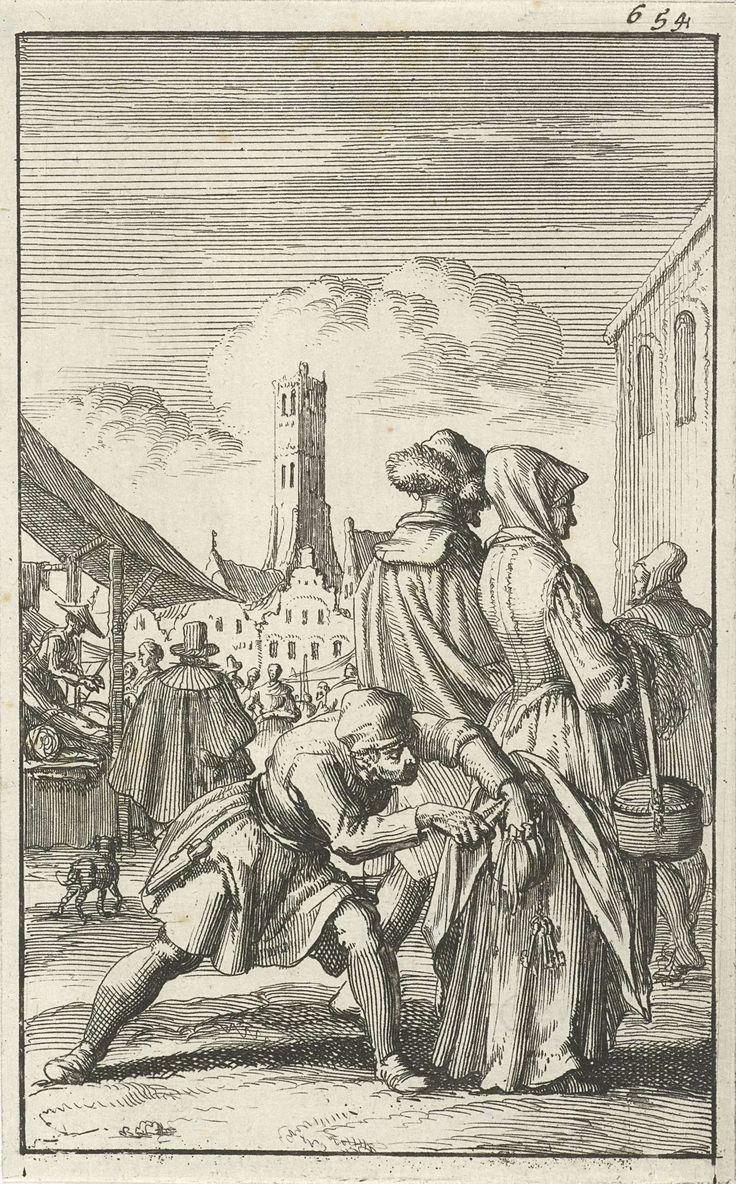 Vrouw op een jaarmarkt door een dief van haar geldbuidel beroofd, Jan Luyken, Jan Bouman, 1685