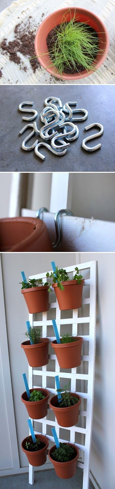 You haven't got the space for an entire herb garden—or you live in an apartment with very little outdoor space?  Try this. I'm going to try mine with plastic pots on a plastic trellis .