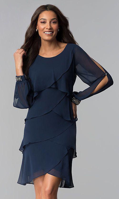 Long-Split-Sleeve Short Mother-of-the-Bride Dress | Cheap ...