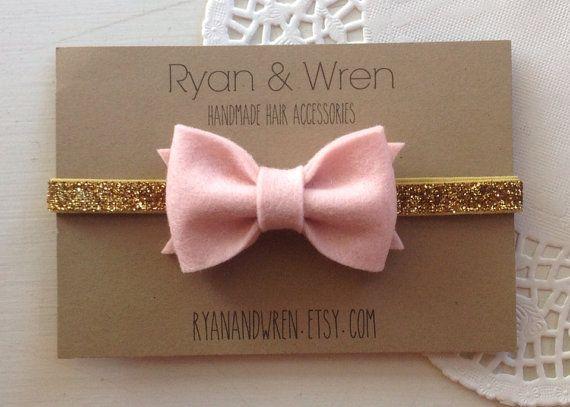 baby bow headband- pink felt bow on gold glitter band