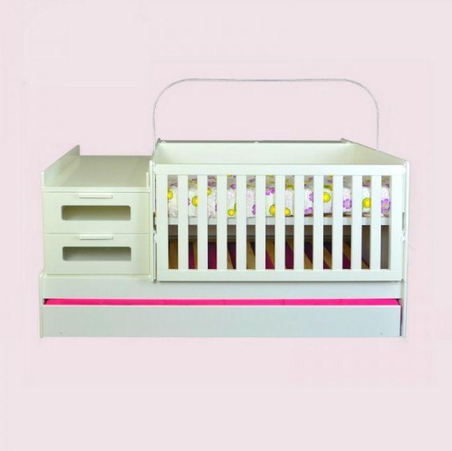 Berço crescente 6 em 1, que se transforma em quarto completo infantil: cama, criado mudo, modulo e escrivaninha