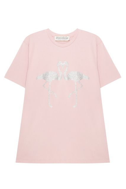 Хлопковая футболка Etre Cecile - Розовая футболка с изображением фламинго из серебристых блесток в интернет-магазине модной дизайнерской и брендовой одежды