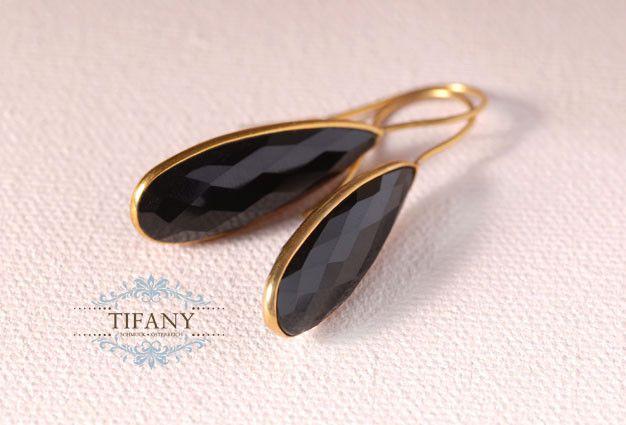 Ohrhänger - schwarze Onyx Ohrhänger