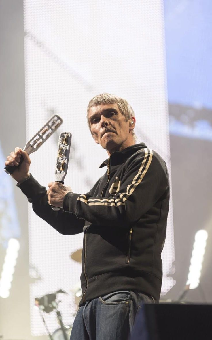 Still got it: The Stone Roses' Ian Brown, at the Etihad Stadium in Manchester