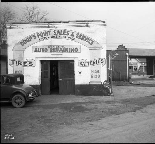 Doup's Point Sales & Service Automobile repair shop, 2509 Bardstown Rd. Bardstown Rd. & Taylorsville Rd. Doup's Point. Louisville, Ky., 1934