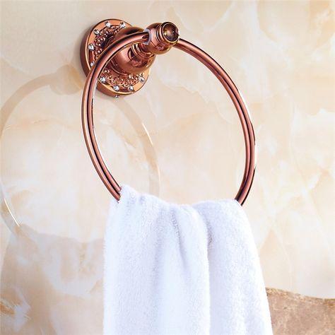 浴室タオルリング タオル掛け タオル収納 ハンガー バス用品 真鍮製 ローズゴールド