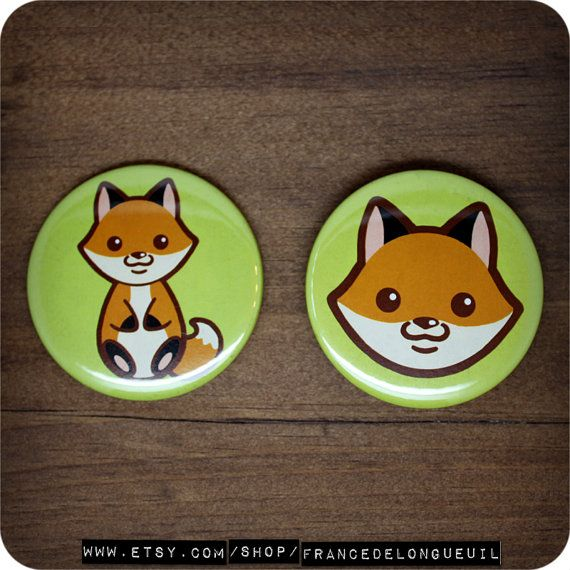 2.25 inches Cute fox  Button  Magnet  Pocket by FranceDeLongueuil