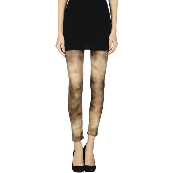 Elisabetta Franchi Leggings ($86) ❤ liked on Polyvore featuring pants, leggings, camel, rhinestone pants, legging pants, animal print pants, camel leggings and jersey pants