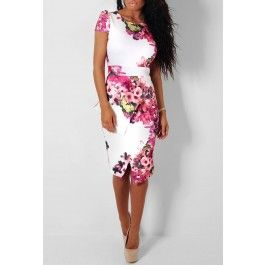 Pickney White and Floral Offset Peplum Midi Dress