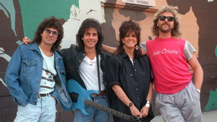 Band members of Starship, from left, Mickey Thomas, Craig Chaquico, Grace Slick and Donny Baldwin