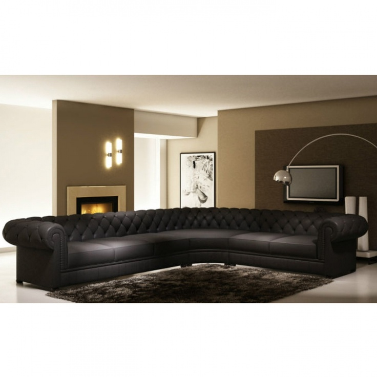 Designer Chesterfield Leather Corner Sofa In Black Colour - Left Or Right Hand Available