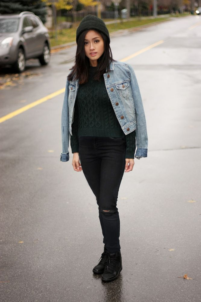 AE Denim Jacket and Top Shop MOTO Jeans