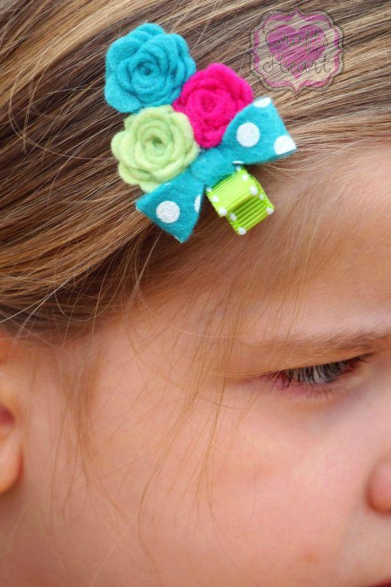 Hair Clip Felt Flower Felt Flower Hair by PACraftsfromtheHeart