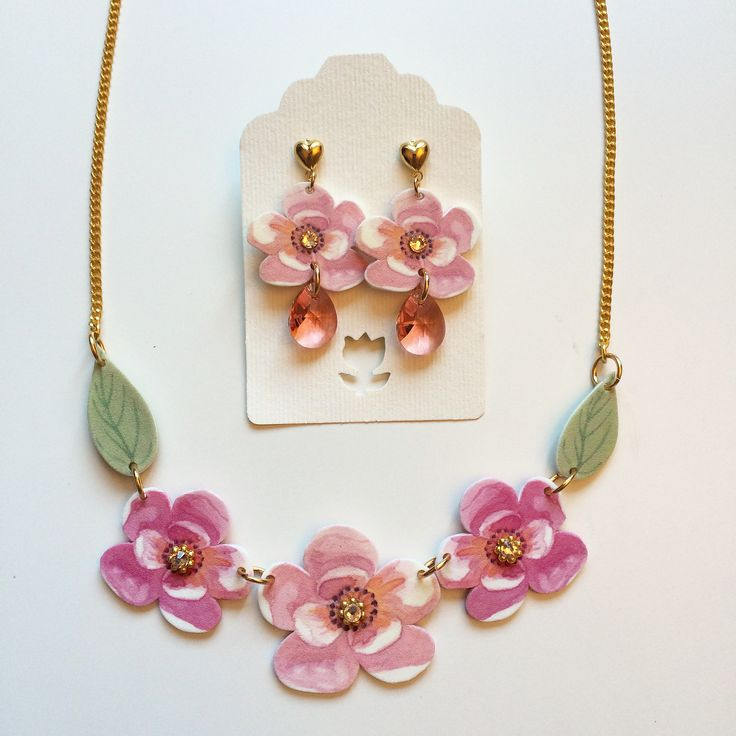 NEW IN! Secret Garden necklace + Cherry blossom earrings by Luli Art BIjoux! #romantic #handmade #jewelry