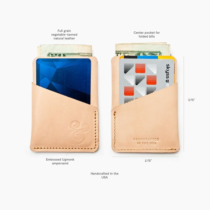 It's all in the details. This slim card case features a front and back pocket for quick access to your cards and a larger center pocket to tuck away your folded bills