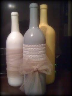 wine bottles - love the tulle!