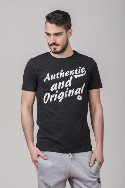 "Ανδρικό T shirt ""Authentic & Original"" Black"