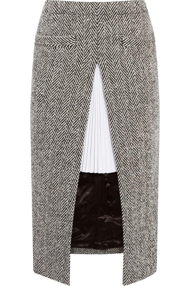 Sacai|Twill-paneled herringbone wool-blend skirt|NET-A-PORTER.COM