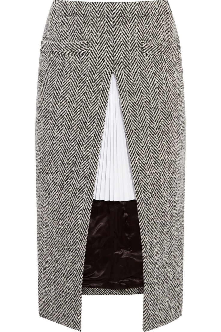 Sacai | Twill-paneled herringbone wool-blend skirt | NET-A-PORTER.COM