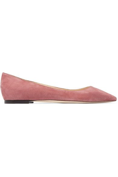 Jimmy Choo - Romy Suede Point-toe Flats - Antique rose