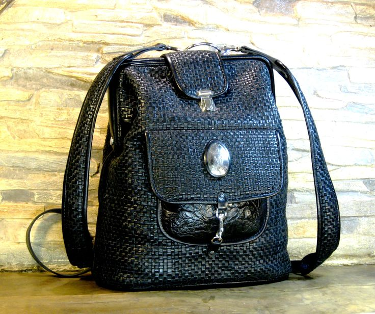 braided leather backpack with clasp by MABTESS on Etsy