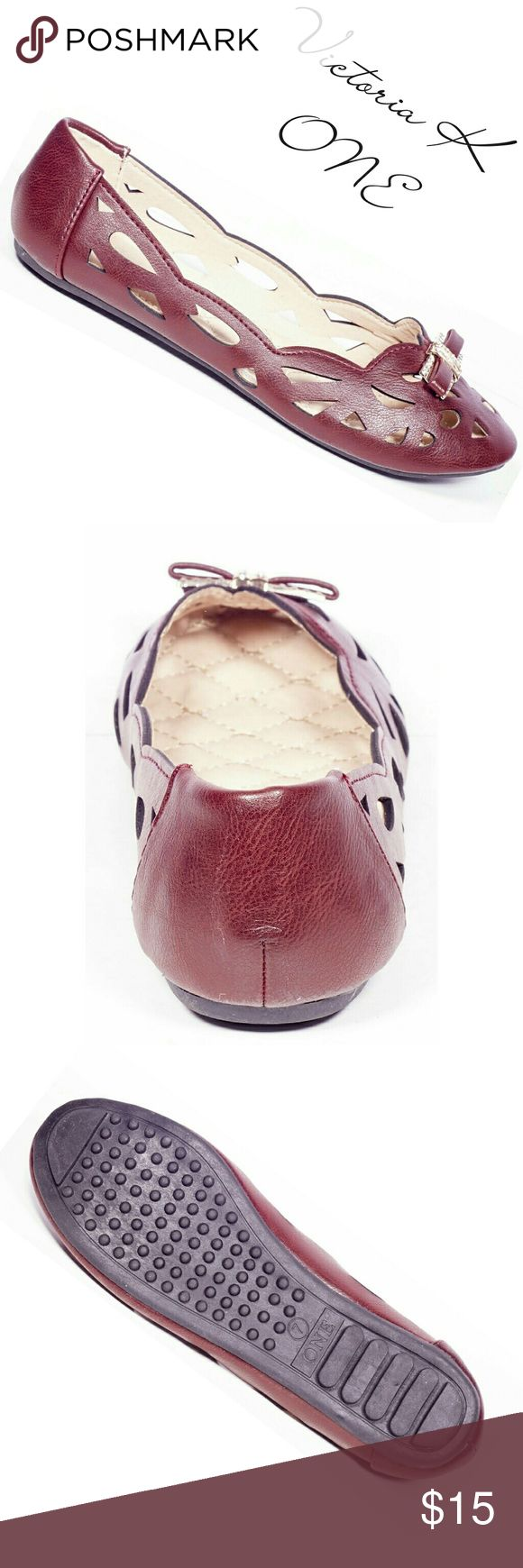 """Tory K Women Buckle Flats, b-2054, Wine Brand new Victoria K gorgeous perforated woman ballerina flats in PU leather with a stylish sparkly bow shaped buckle in the front. From the ONE collection. Soft cushioned sole, very comfortable. Bubbled bottom sole for extra traction.  A true staple in ladies shoes fashion! Measurements: size 7 measures 9.5 inches, sz 7.5 - 9 3/4"""", sz 8 - 10"""", sz 8.5 - 10 1/4"""", sz 9 - 10.5"""", all half sizes are in 1/4 inch increments of each other. Tory K  Shoes Flats…"""