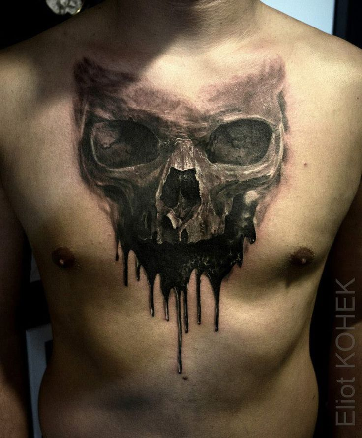 Dripping Skull Chest Tattoo http://tattooideas247.com/dripping-skull/