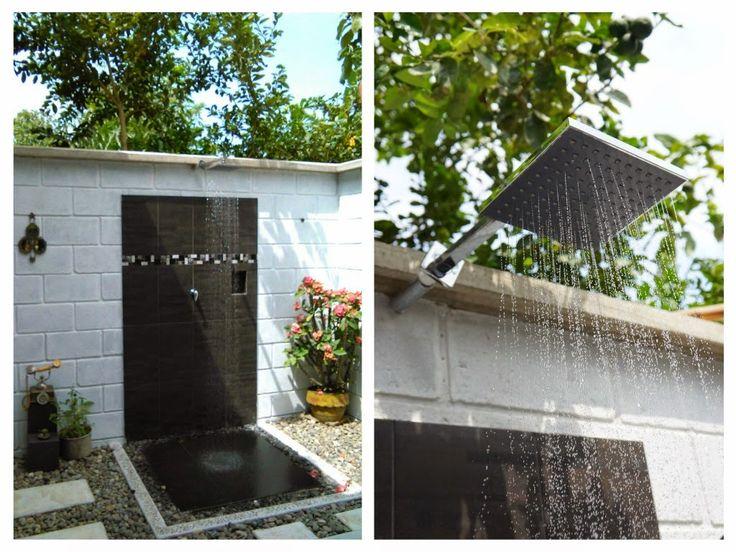 baño al aire libre, una ducha desde puede admirarse la naturaleza. http://decoracioncasarural.blogspot.com.co/ Un #baño al aire libre. que priorizara los #elementos rústicos #artesanales,   #ducha exterior. #ducha al aire libre. #ducha exteriores. #baño exterior.  #infografía.