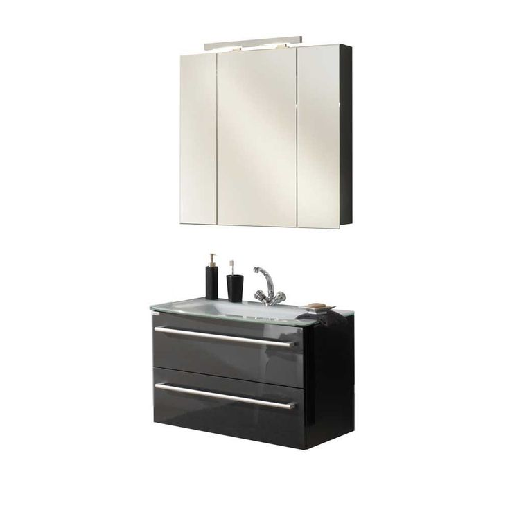 Waschtisch Mit Spiegelschrank In Anthrazit Hochglanz Modern (2 Teilig)  Jetzt Bestellen Unter: