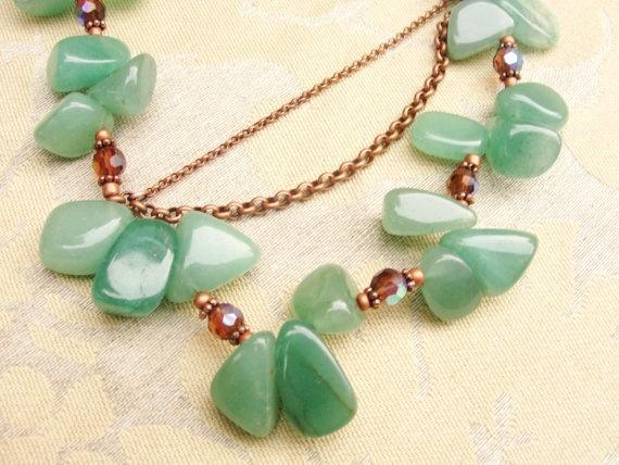 Green Aventurine Necklace Antique Copper Chain by KartisimDesign, $95.00