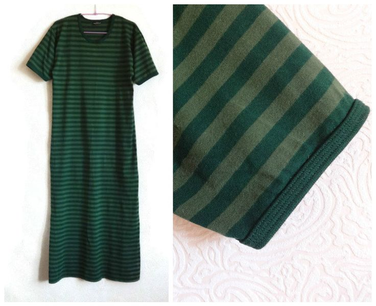 MARIMEKKO Maxi Dress Ankle Dress Khaki& Green Striped Dress Short Sleeve Marimekko Clothing Cotton Nautical Dress Finnish Clothing Vintage by Vintageby2sisters on Etsy