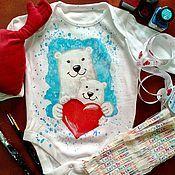 Работы для детей, ручной работы. Ярмарка Мастеров - ручная работа Боди с ручной росписью Мишки. Handmade.