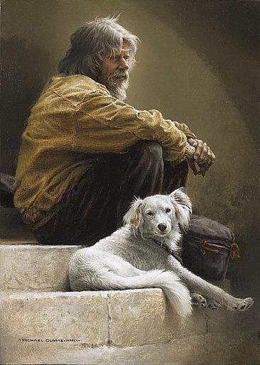 Qual é o cão, tal é o dono. (Pintura de Michael Dumas)